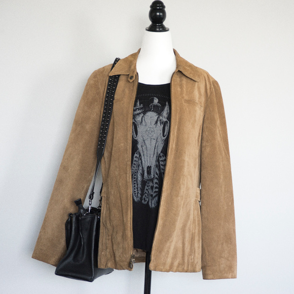Tan Leather Suede Coat by Eddie Bauer